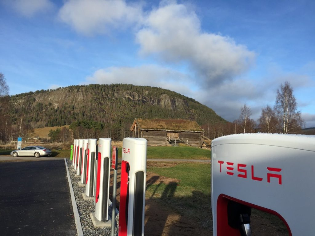 Electric car charging station in Setesdal
