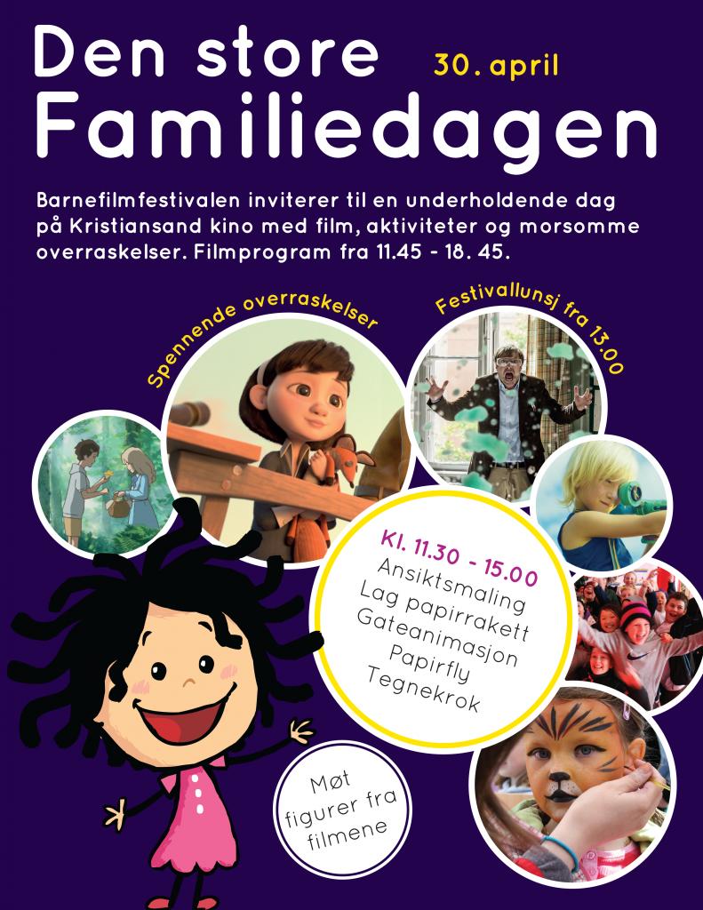 Plakat Barnefilmfestivalens familiedag 30. april