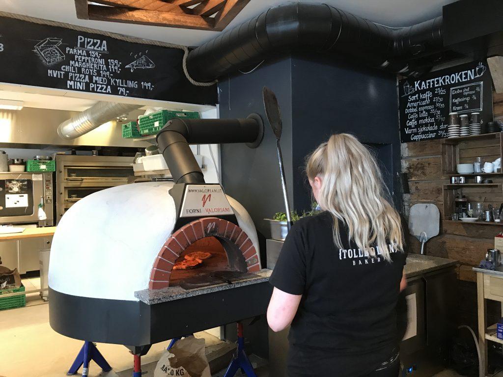 Pizzaovn på Tollboden Bakeri i Flekkefjord