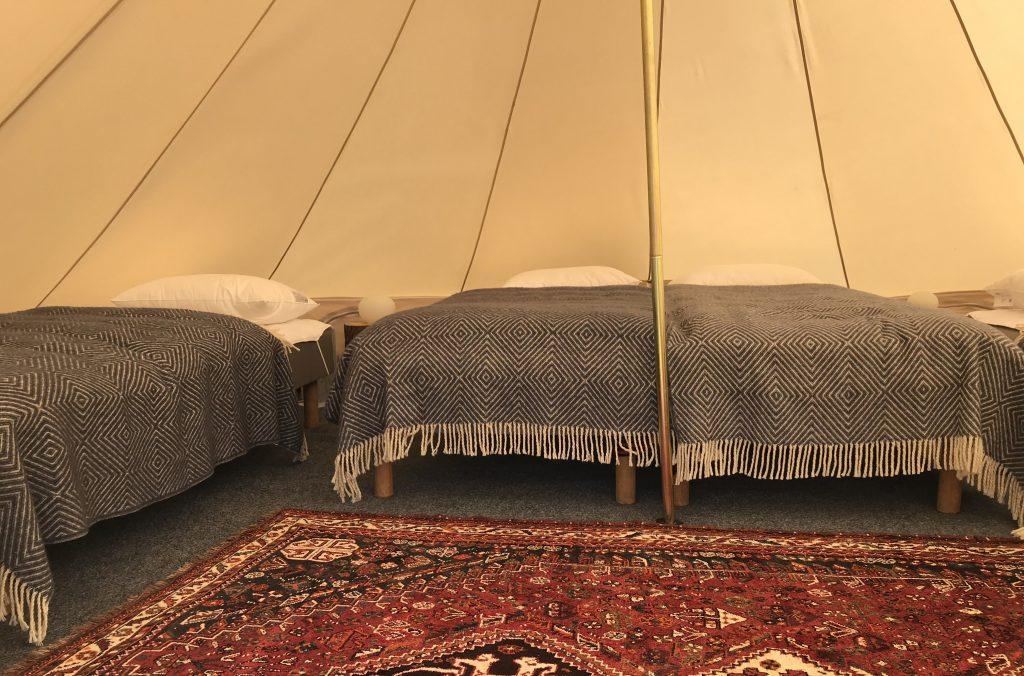 Glamping telt interiør, Lomsesanden Camping
