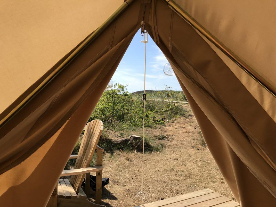 Glamping teltåpning Lomsesanden Camping