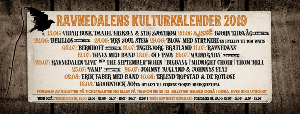 Ravnedalens Kulturkalender 2019.