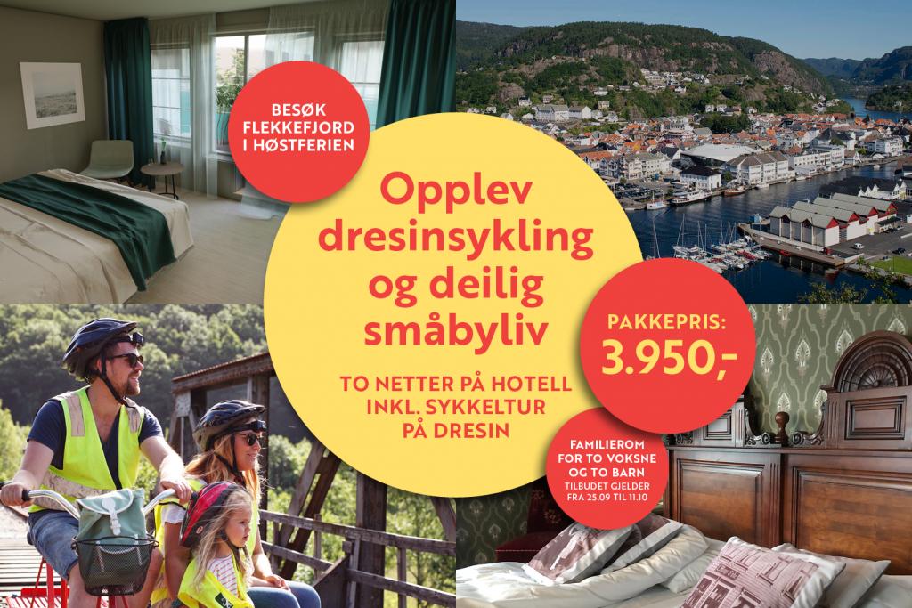 Supertilbud på overnatting i Flekkefjord, inkludert dresinsykling på Flekkefjordbanen.