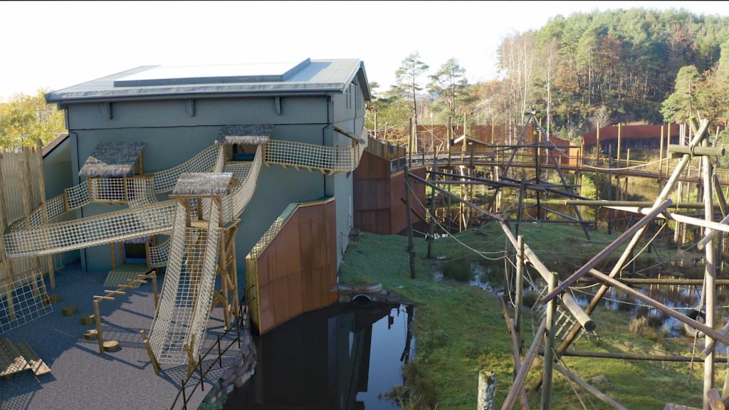 Slik blir det nye klatreområdet ved orangutanghuset.